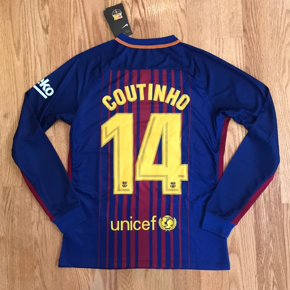 low priced 49a55 28bc6 where to buy barcelona 14 coutinho away long sleeves soccer ...